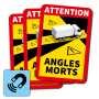 Dode Hoek magneetsticker Angles Morts - (set van 3 magneetstickers)