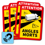 Dode Hoek magneetsticker Angles Morts - (set van 4 magneetstickers)